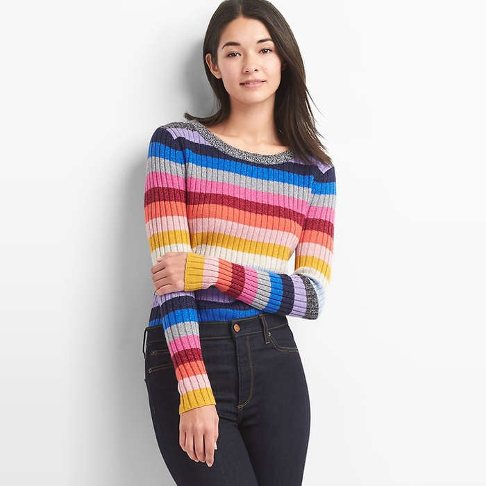 Best Rainbow Fashion Pieces - GAP Metallic Crazy Stripe Crewneck Sweater