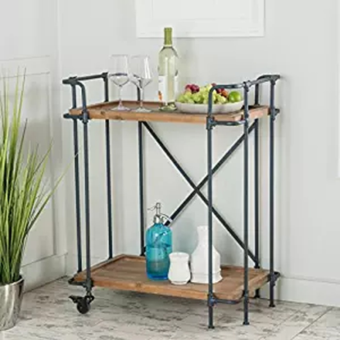 Best Bar Carts Under $200 - GDF Studio Waldman Antique Finish FIr Wood and Iron Coffee Cart