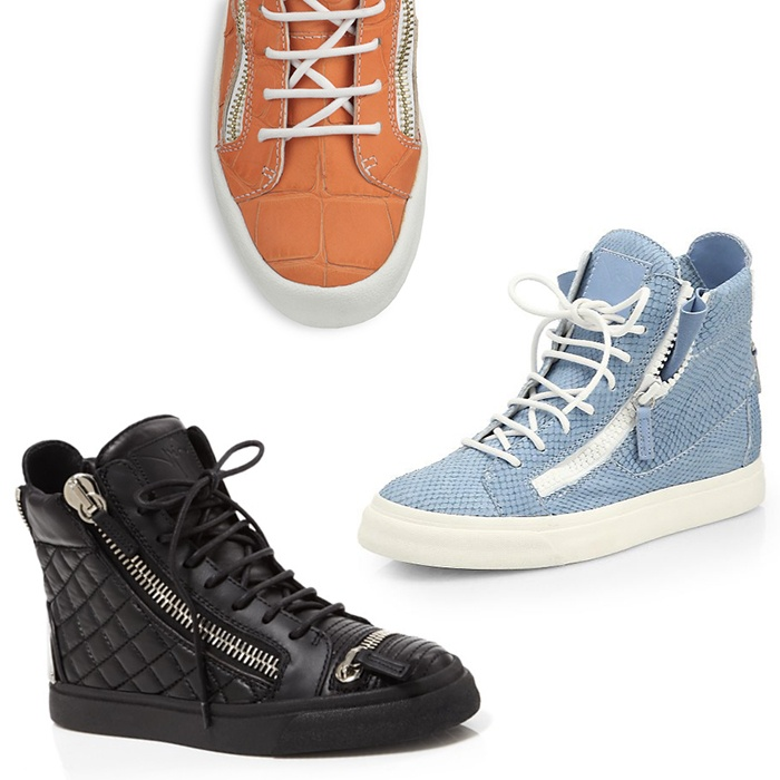 Best Winter High Tops - Giuseppe Zanotti London Zip Quilted Lace Up High Top Sneakers and Snake-Embossed Leather High-Top Sneakers