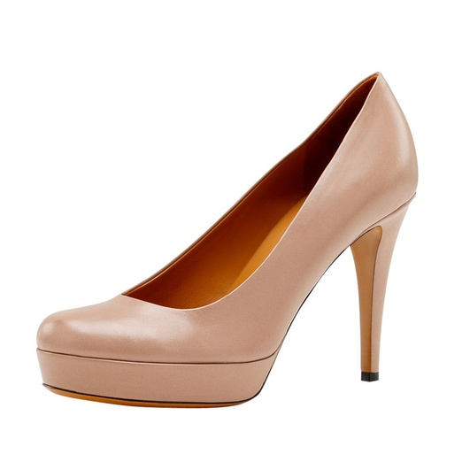 Best Nude Pumps - Gucci Betty Mid-Heel Platform Pump