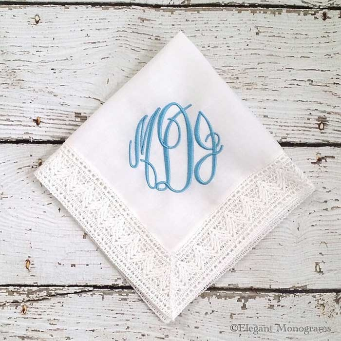 Best Something Blue Ideas - Heather Strickland Monogrammed Something Blue Bridal Embroidered Wedding Handkerchief