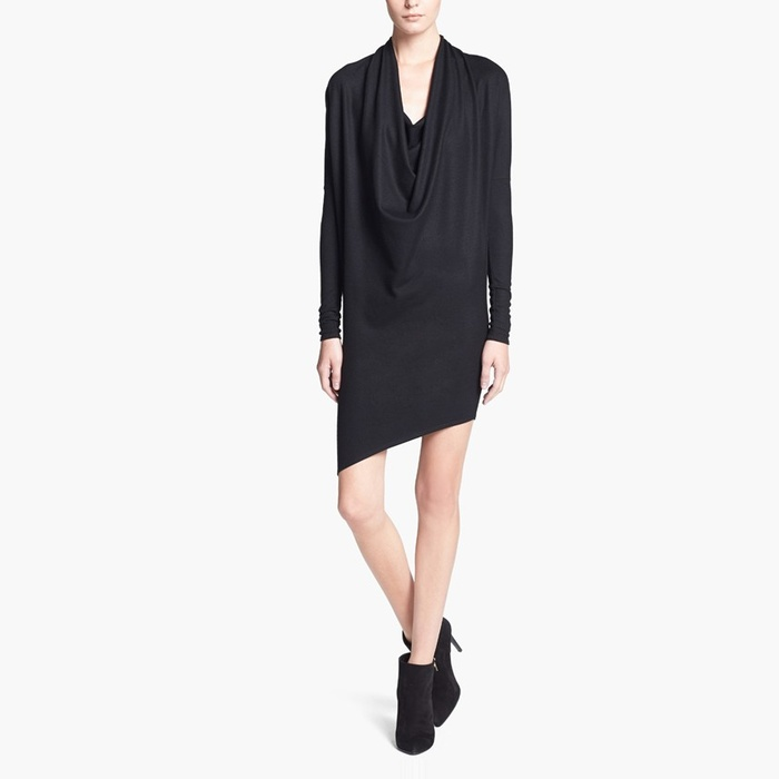 Best Black Cocktail Dresses for Fall - Helmut Lang Cowl Drape Neck Wool Dress