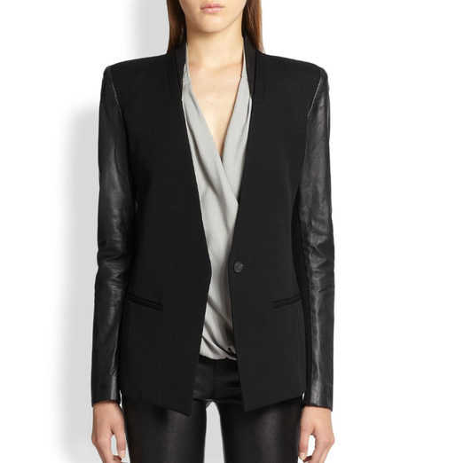 Best Black Blazers - Helmut Lang Wool & Leather Blazer