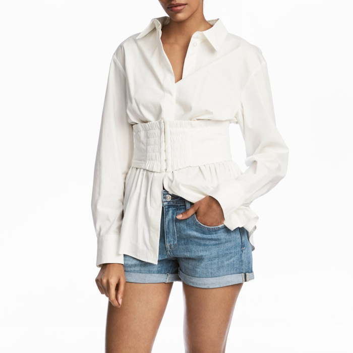 Best Corset Tops - H&M Cotton Waist-cincher Blouse