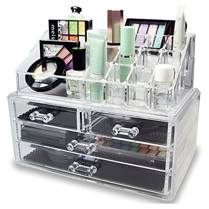 Best Makeup Organizers - Ikee Design Acrylic Jewelry And Cosmetic Storage Display Set