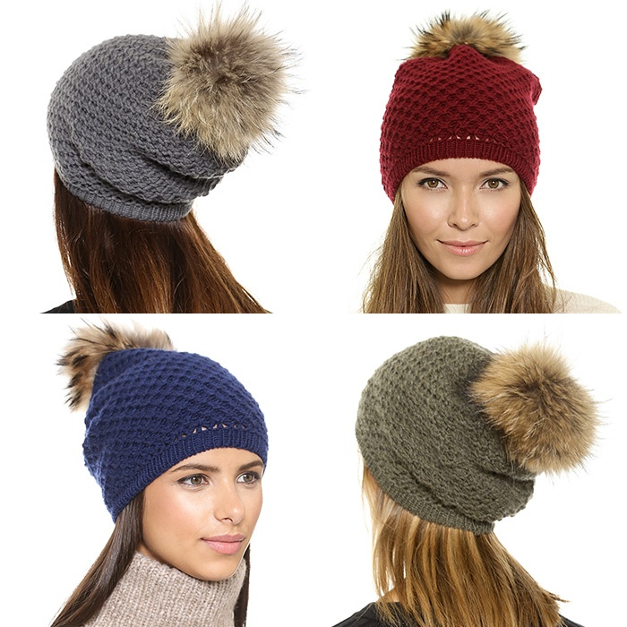 Best Hats & Gloves - Inverni Slouchy Fur Pom Pom Hat