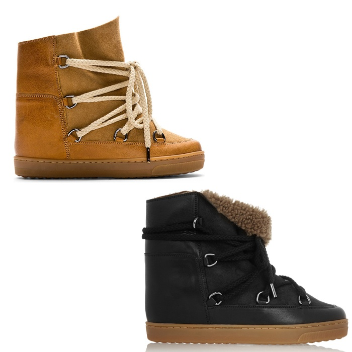 Best Snow Boots to Gift - Isabel Marant Nowles Shearling-Lined Leather Concealed Wedge Boots
