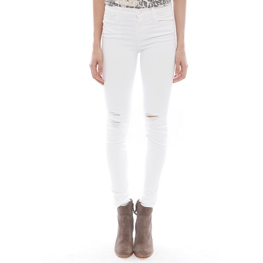 Best Distressed Jeans For Spring - J Brand Destructed Mid Rise Super Skinny in White Rocks