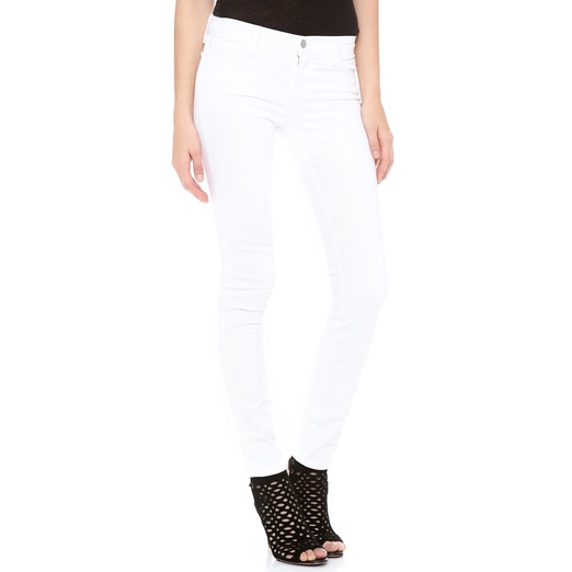 Best White Skinny Jeans - J Brand Mid-Rise Skinny Jeans in White