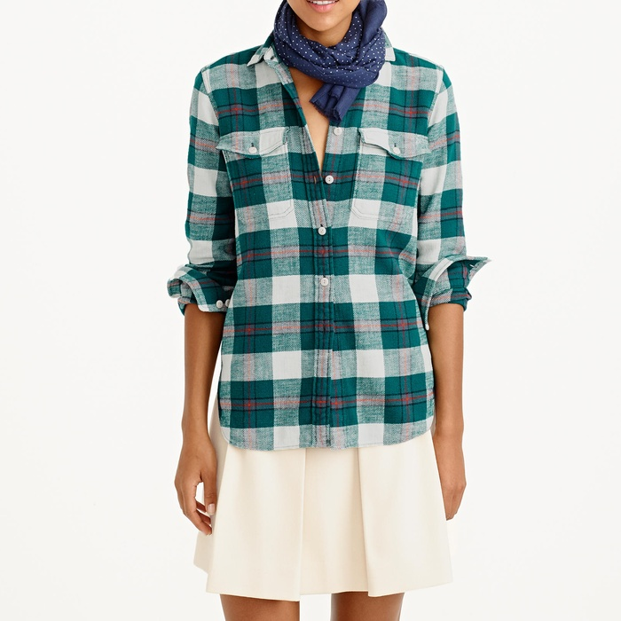 Best Plaid Button Downs - J.Crew Boyfriend Flannel Shirt In Bluegrass Plaid