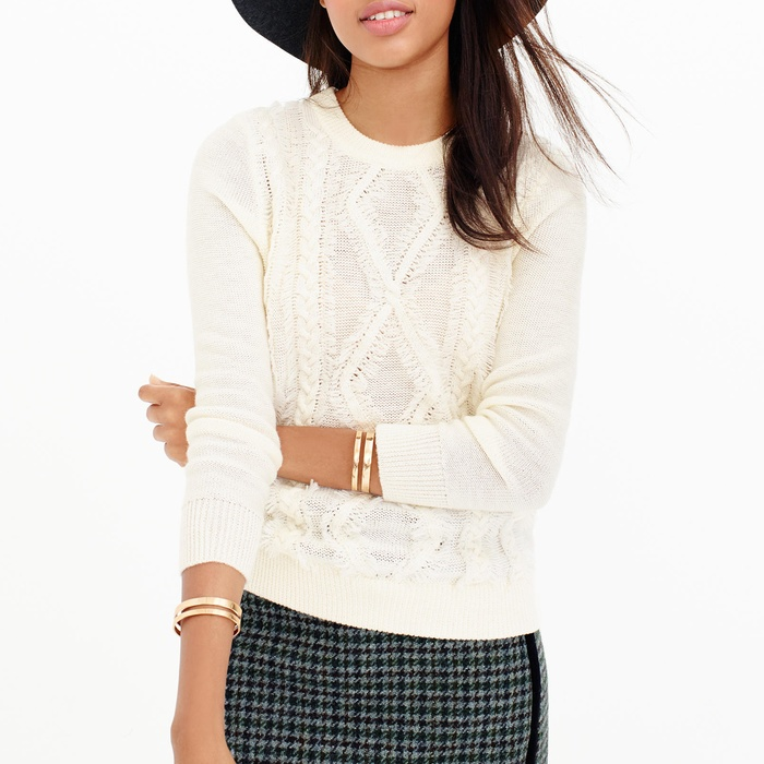 Best Crewneck Sweaters Under $100 - J. Crew Cable Crewneck Sweater with Fringe