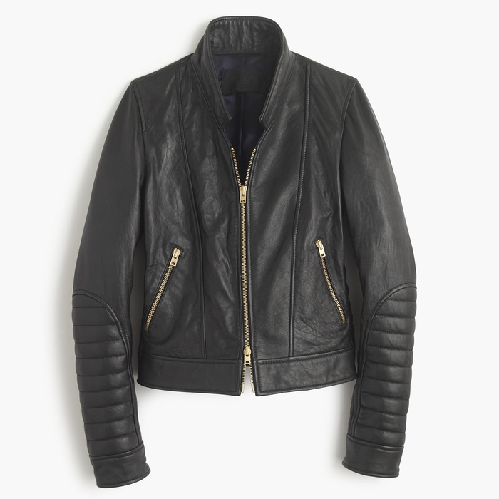 Best Moto Jackets - J. Crew Collection Standing-Collar Leather Jacket