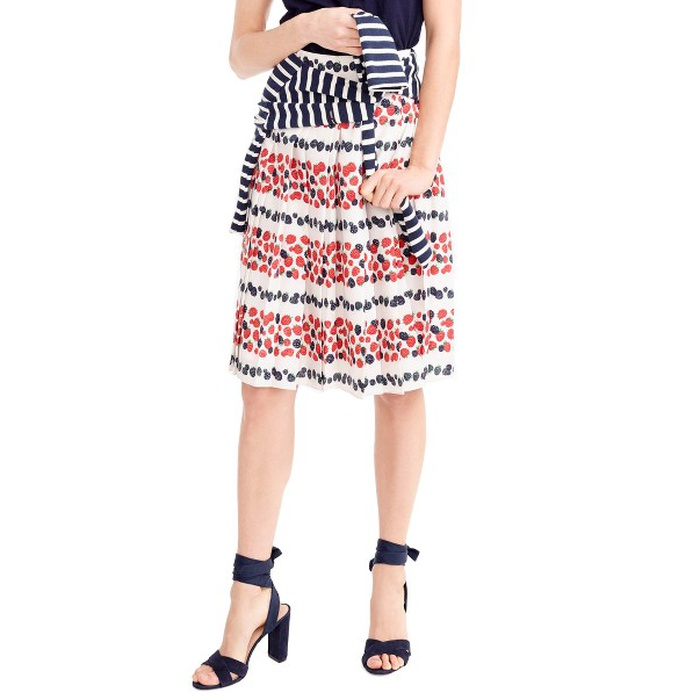 Best Flirty Skirts - J.Crew Berry Print Pleat Skirt