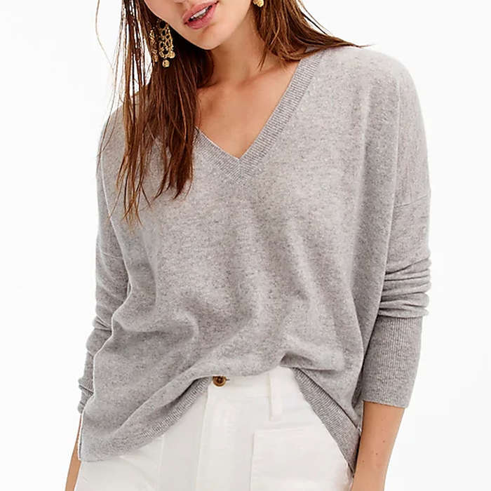J.Crew Cashmere V Neck Boyfriend Sweater