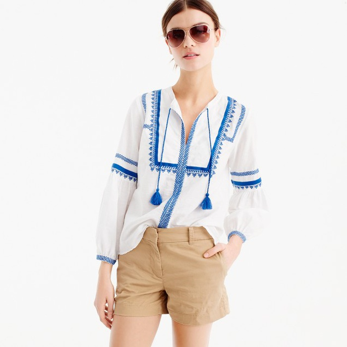 Best Summer Tops With Sleeves - J.Crew Embroidered Linen-Cotton Top