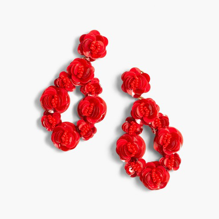 J Crew Leather Backed Sequin Petal Earrings