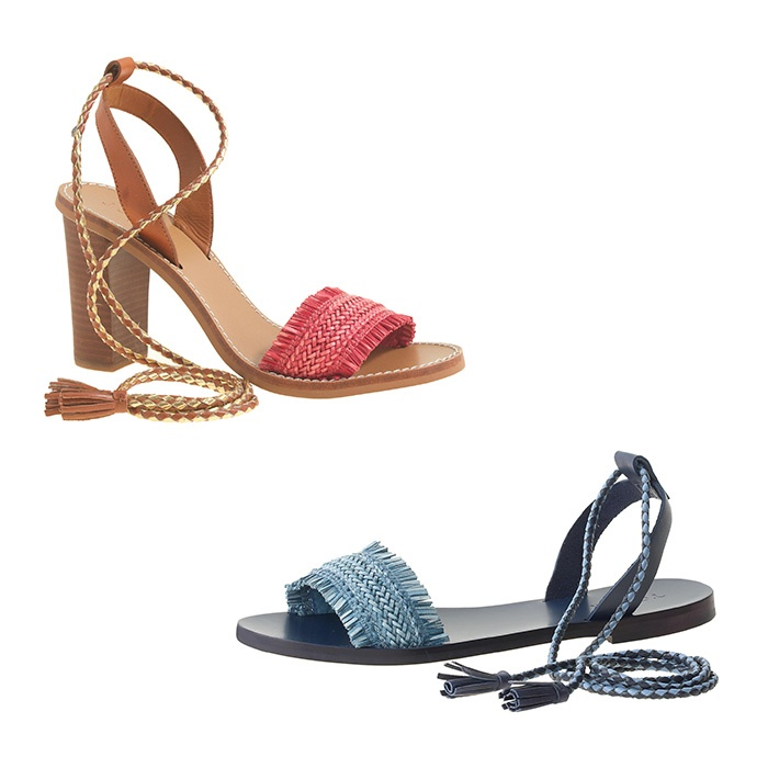 Best Ten Summer Musts for the Beach - J.Crew Raffia Ankle-Tie Sandals