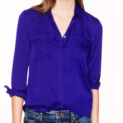 Best Blue Hued Bests - J.Crew Silk Pocket Blouse