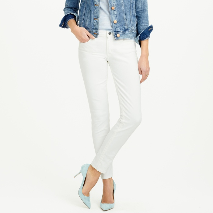 Best Your Guide To This Summer's Best White Jeans - J.Crew Stretch Toothpick Cone Denim Jean in White