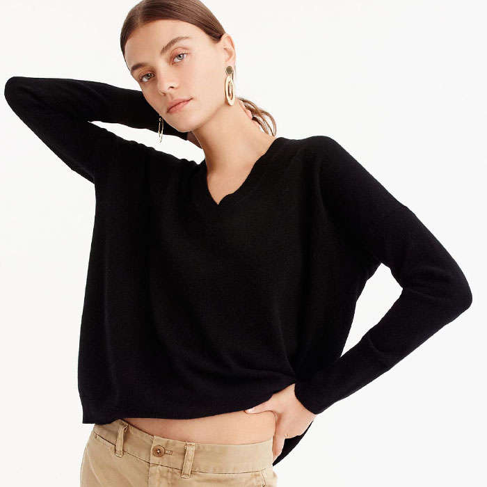 Best Women's Cashmere Sweaters Under $200 - J.Crew V-neck Boyfriend Sweater in Everyday Cashmere