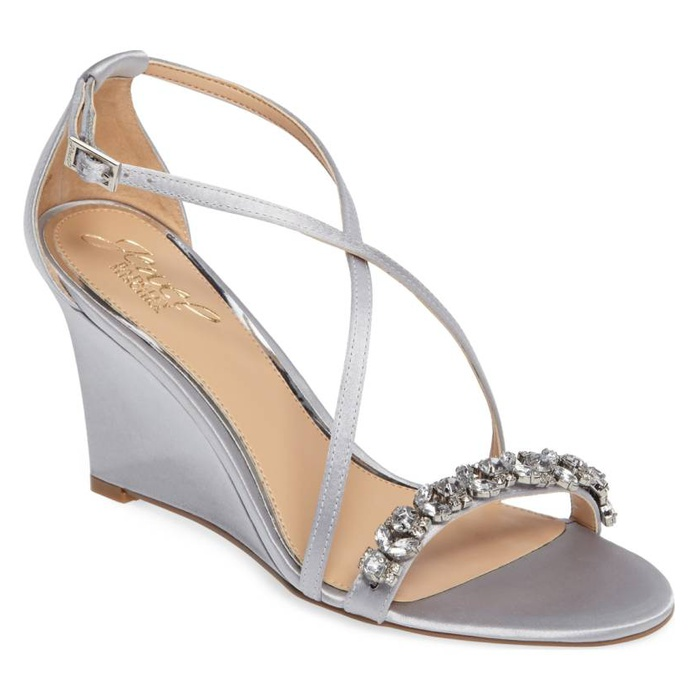 Best Bridal Wedges - Jewel Badgley Mischka Embellished Strappy Wedge Sandal