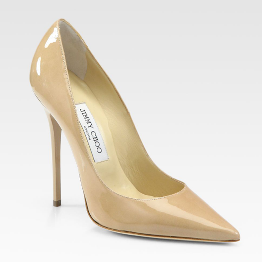 Best Nude Pumps - Jimmy Choo Anouk Patent Leather Point Toe Pumps