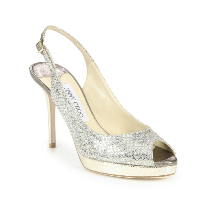 Best Wedding Heels - Jimmy Choo Nova Glitter-Covered Leather Peep-Toe Pumps