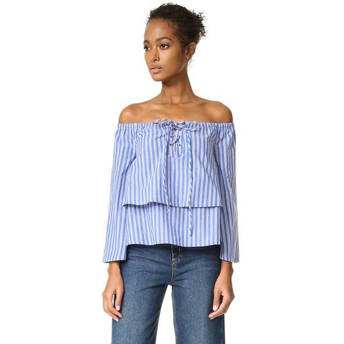 Best Spring Vacation Essentials - J.O.A. Lace Up Stripe Blouse
