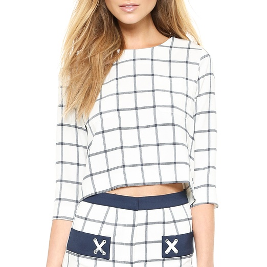Best Midsummer Crop Tops - J.O.A. Plaid Woven Top with Wide Sleeves