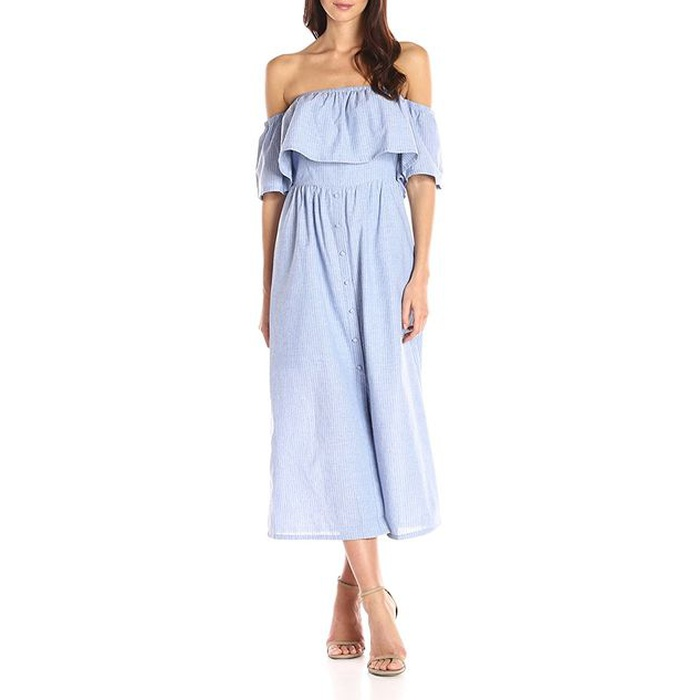 Best Amazon Dresses Under $150 - J.O.A. Women's Off the Shoulder Button Front Maxi Dress