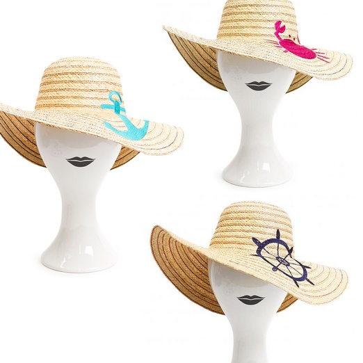 Best Nautical Inspired Bests - Jonathan Adler Floppy Embroidered Sun Hat