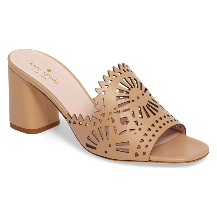 Best Perforated Shoes - Kate Spade Delgado Suede Cutout High Heel Slide Sandals