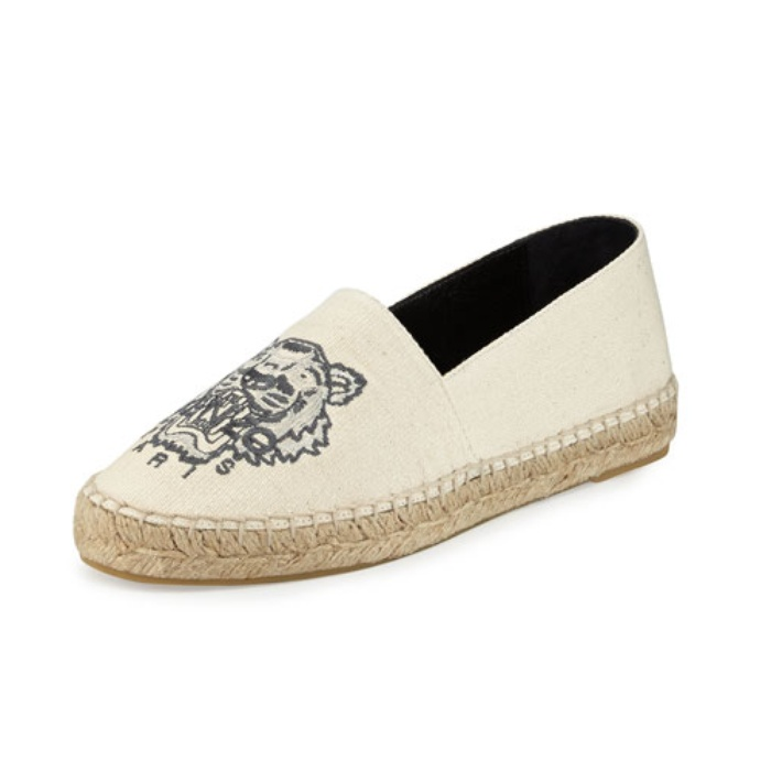 Best Espadrilles for Summer - Kenzo Tiger Linen Espadrille Flat, Mastic Cream