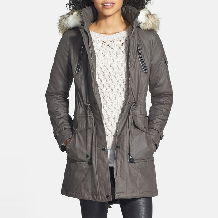 Best Parkas Under $500 - Laundry by Shelli Segal Coated Parka with Faux Fur Trim