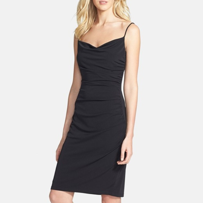 Best Spring LBDs Under $200 - Laundry by Shelli Segal Spaghetti Strap Ruched Jersey Dress