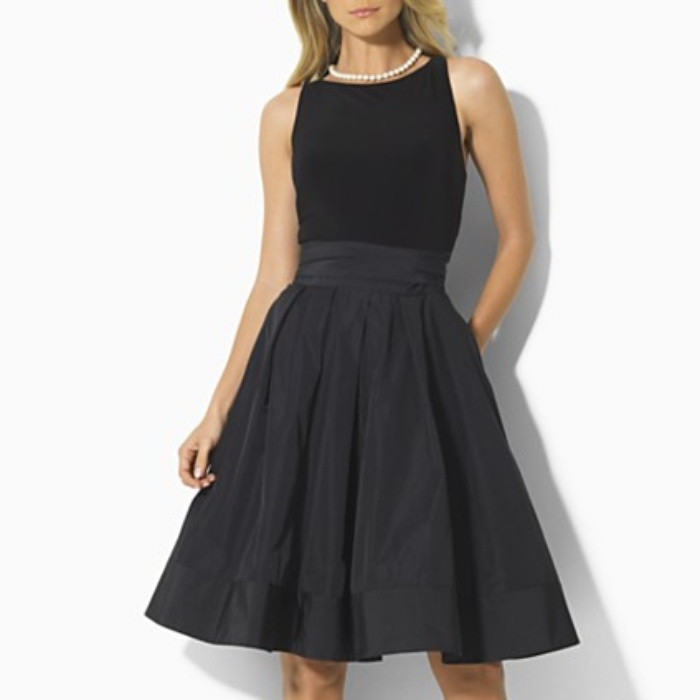 Lauren By Ralph Sleeveless Pleated Dress
