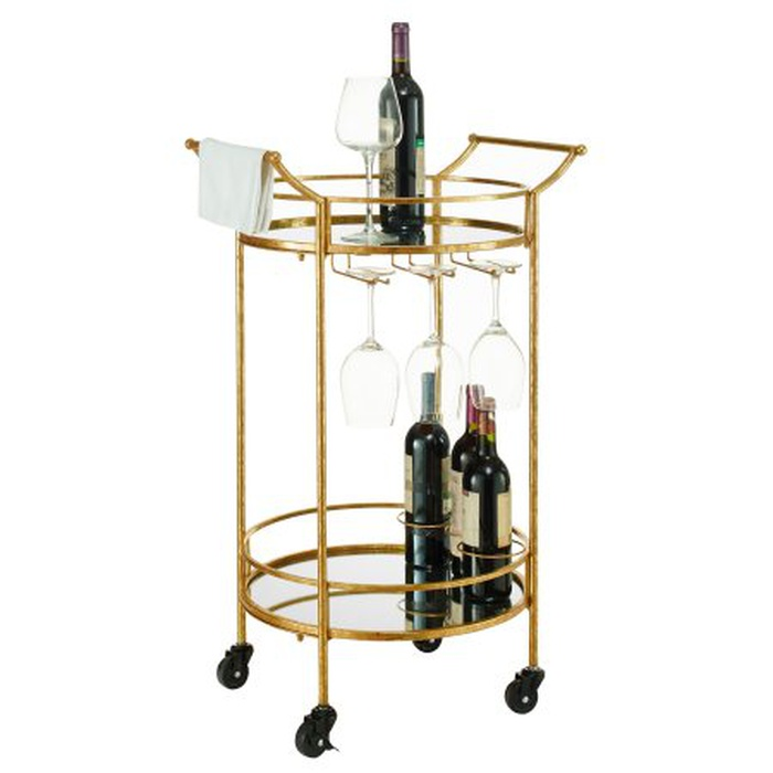 Best Bar Carts Under $200 - Linon Round Gold Metal Bar Cart