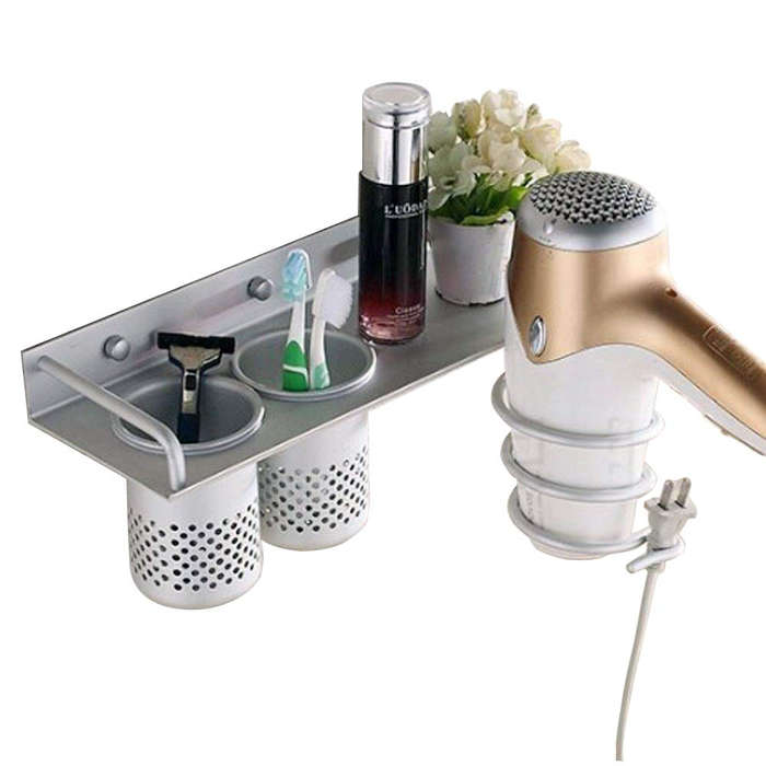 Curling Wand mDesign Over-Cabinet Hair Care Tools Holder for Hair Dryer Flat Iron White