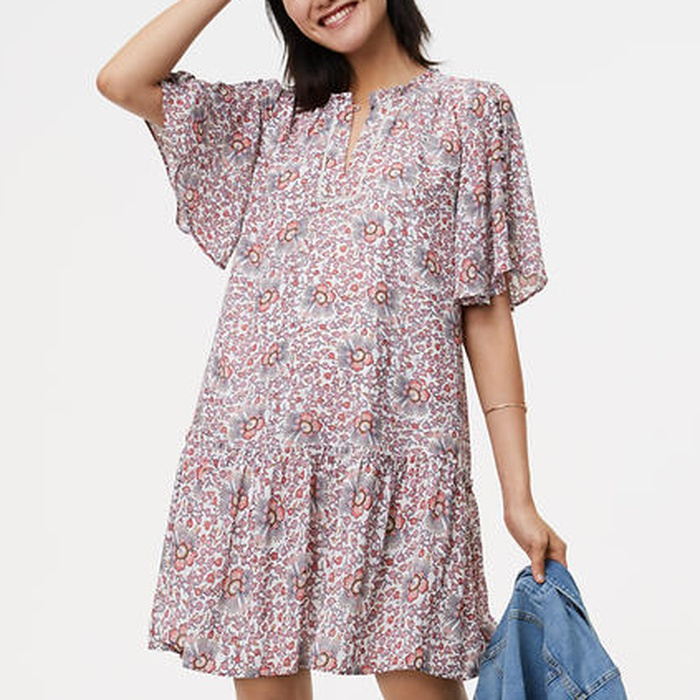 Best Transitional Dresses - Loft Flowerbud Button Sleeve Dress