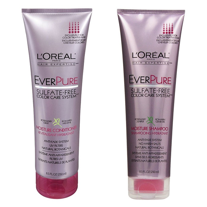 Best Drugstore Hair Products - L'Oreal Paris EverPure Sulfate-Free Color Care System Moisture Shampoo & Conditioner