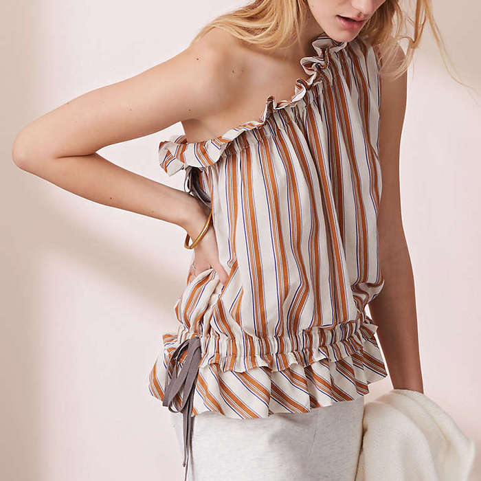 Best One Shoulder Tops - Lou & Grey Striped Ruffle Tie One Shoulder Top
