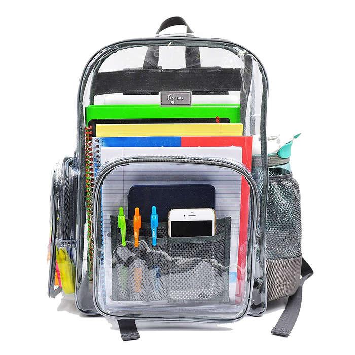 0713aa0451f9 LTYek Heavy Duty Clear Backpack with Laptop Sleeve