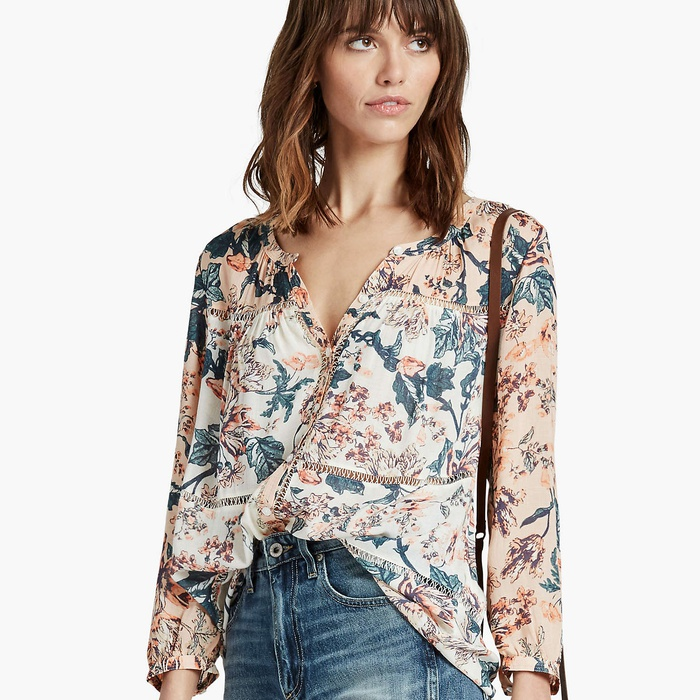Best Buys From Lucky's Sale - Lucky Brand Mixed Print Peasant Top