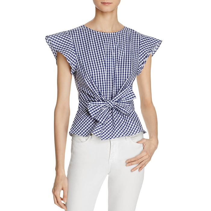Best Gingham Tops - Lucy Paris Belted Ruffle Sleeve Gingham Top