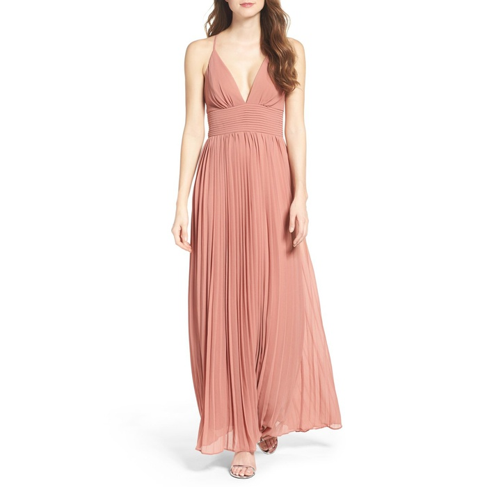 Best Prom Dresses Under $200 - Lulu's Plunging V-Neck Pleat Georgette Gown