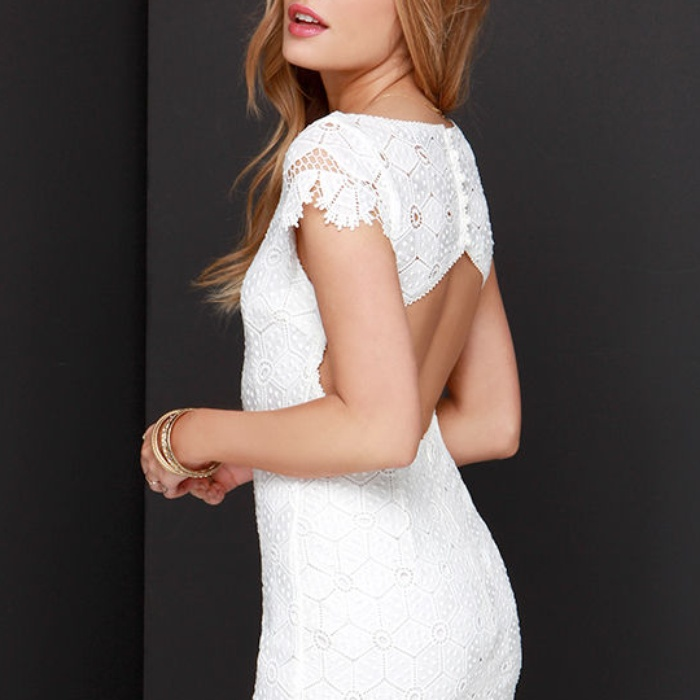 Best Backless Dresses - Lulu's Strike a Poise Ivory Lace Backless Dress