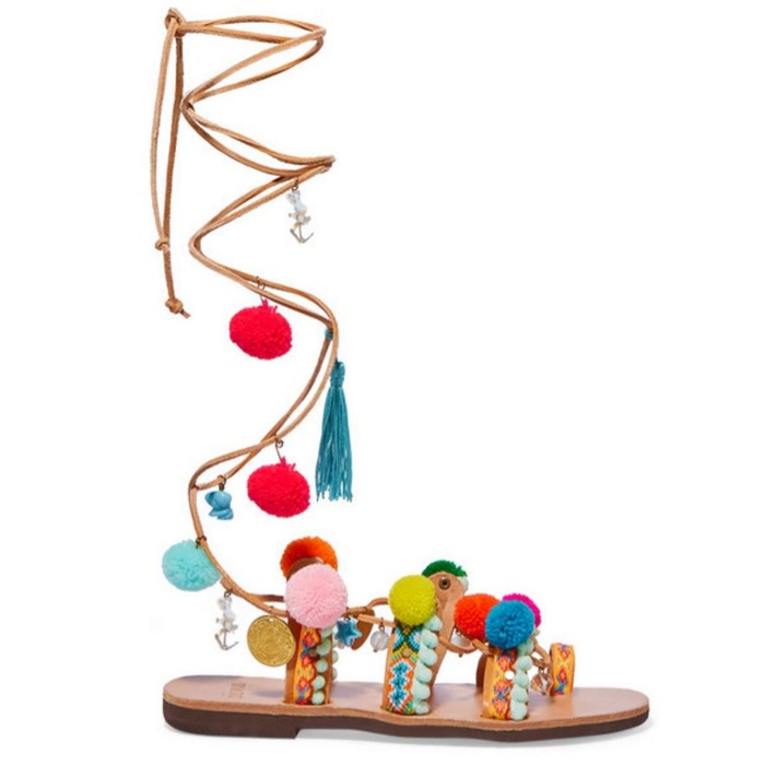 Best Pom pom Sandals - Mabu by Maria BK  Embellished leather sandals