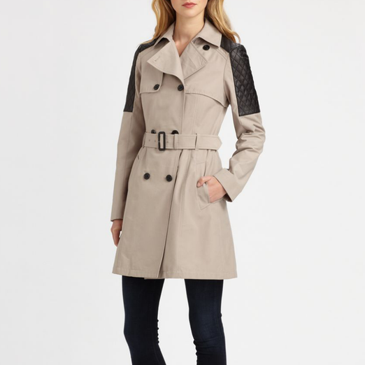Best Trench Coats - Mackage Lilith Leather-Trim Trench Coat