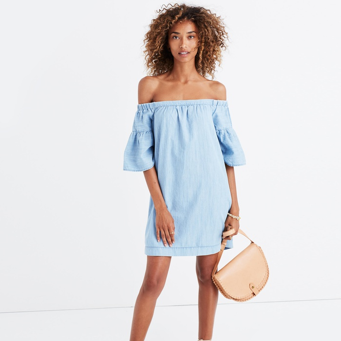 Best Casual Off The Shoulder Dresses - Madewell Denim Azalea Off-The-Shoulder Dress
