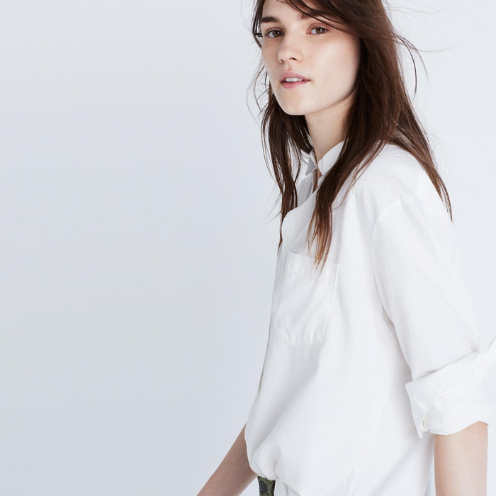Best White Button Down Shirts - Madewell Drapey Oversized Boyshirt in Pure White